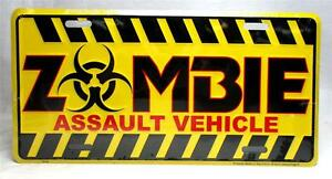 Zombie Assault Vehicle License Plate Car Truck Tag Outbreak Response Team