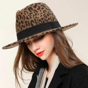 Women Fedora Wide Brim Leopard Wool Cap Warm Winter Panama Jazz Ladies Felt Hats
