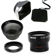 25mm Wide Angle and Telephoto Lenses, Hood for Sony Handycam DCR-HC46 Camcorder