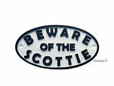 Beware of The Scottish Terrier Sign - House Garden Plaque - White/Black