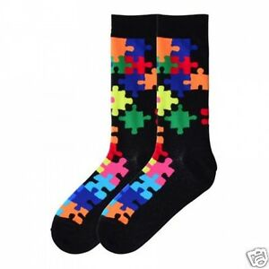 K.Bell Bright Jigsaw Puzzle Pieces Womans Pair Cotton Blend Crew Socks New