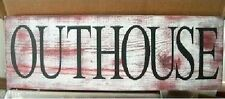 Primitive Outhouse Sign Barn Red Shabby Dustressed Country
