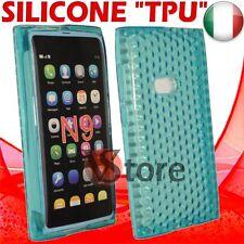 Cover For Nokia N9 Blue Gel Silicone TPU Case Diamond Blue