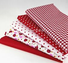 5 PCS 40CM*50CM red  cotton patchwork fabric baby bedding DIY doll cloth tecido