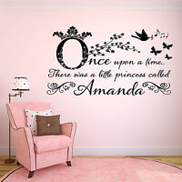Personalised Once Upon A Time Girls Childrens Wall Art Sticker - Bedroom -