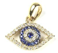 Evil Eye Pendant with Diamond in 14k Yellow, White or Rose Gold( Dia. 0.15)