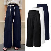 ZANZEA Femme Pantalons Loisir Bouton Poches Couleur Unie Jambe Large Long Plus