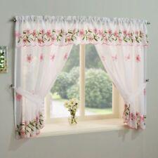 Rideaux et cantonnières rose à motif Floral pour la cuisine