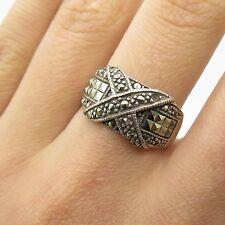 Vtg 925 Sterling Silver Real Marcasite Gemstone Ring Size 6 3/4