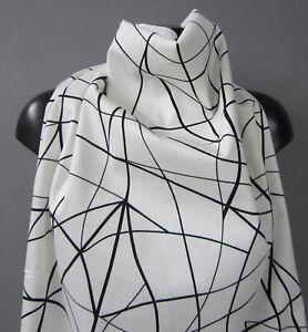 Deko-Kleider-Stoff SCHWARZ-WEISS Pikee-Druck grafisch von Toptex ab 50 cm