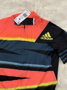 Adidas Adistar Cycling Form Fitting Jersey Yellow Solar Red Medium FJ6573 $160