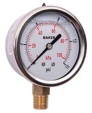 Baker AVNC-15P Pressure Gauge, 0-15 PSI / 0-100 kPa