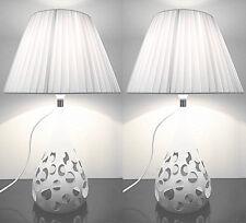 Pair of Deco Designer New Modern Table Bedside Desk Lamps White Shade Metal Base