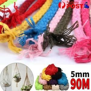 5mm 90M Natural Cotton Twisted Cord Craft Macrame Artisan Rope Craft String AU