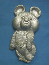 Moscow Olympic Games 1980. Olympic Bear Misha. Metal Figurine. Plaque.