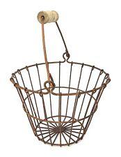 Wire Egg Basket Farm Vintage Antique Fruit Storage Gathering Chicken Rusty Metal