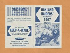 1967 OAKLAND RAIDERS FOOTBALL - STAYNERAL SPONSER POCKET SCHEDULE  NR MINT