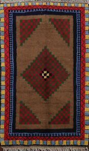 Excellent Geometric Gabbeh Hand-knotted Area Rug Wool Oriental Foyer Carpet 5x7