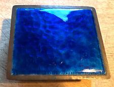 S21 Vintage Hand Wrought Copper & Blue Enamel Cigarette Case Box
