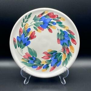 """Clayworks Pottery Canada Hand Painted Plate 8.5"""" Flowers Leaves 21.5cms Halifax"""