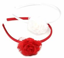 Zest 2 Satin Alice Bands with Glittered Flowers Hair Accessories Red & White