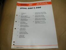 stihl chainsaw 020t 020 illustrated parts list,Ipl,stihl chainsaw