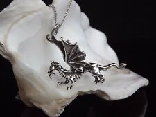 Sterling Silver 925 Jewellery Dragon Pendant 16/18/20'' Necklace Chain Gift Box