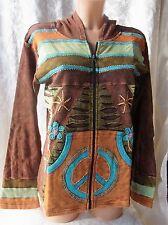 BÄRES Shirt Kaputzen Jacke Patchwork Baumwolle Hippie Batik Nepal L/XL (J70)