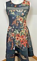 Cameo Rose Shift Dress Size 10 Black Mesh Panel Floral Fit & Flare Skater