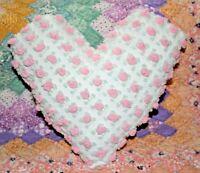 Heart Pillow Made From Vintage Morgan Jones Pink Rosebud Chenille Bedspread
