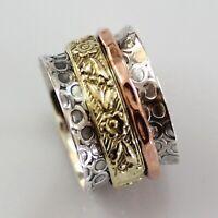 Solid 925 Sterling Silver Spinner Ring Meditation Statement Ring V1008