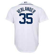 d11382e50 Majestic Justin Verlander Youth White Official Cool Base Player Jersey Yth L