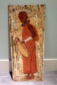 AFRICAN BATIK PAINTING WOMAN WITH CALABASH 1969 SIGNED SALI