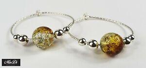 Earrings, pair of hoop earrings with sterling silver & crackled glass beads.