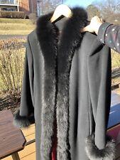 Elegant Marvin Richards Genuine Fox Fur/ Wool /cashmere/nylon Blend Long Coat 💥