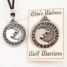 VIKING ODIN'S wolves Necklace Nordic Runes Pendant Odin Wolf Norse Amulet