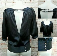 Guess Women S Blouse Top Open Back Black Beaded Stretch Silk New
