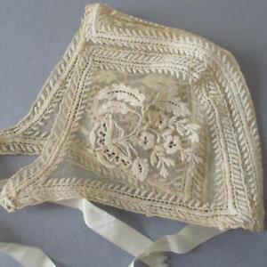 Antique 19thC Handmade Ecru Needlerun TAMBOUR LACE Baby Bonnet * w Provenance