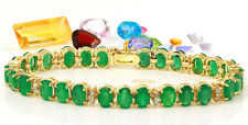 22.70 Carat Natural Emerald 14K Solid Yellow Gold Bracelet