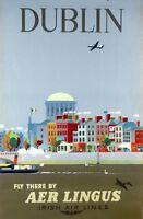 "Vintage Illustrated Travel Poster CANVAS PRINT Dublin Ireland 24""X18"""