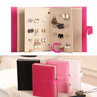 Leather Stud Earring Collection Book Pattern Portable Jewelry Display Holder Box