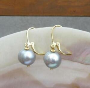 charming pair AAA 10-11mm south sea gray natural pearl earring 14k Yellow Gold