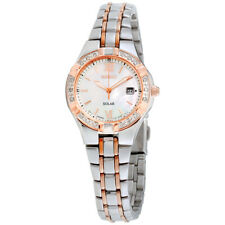 Seiko Diamond Solar Movement Mother of Pearl Dial Ladies Watch SUT146*Open Box**