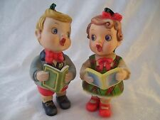 Vintage 2 Porcelain Christmas Ornaments Choir Boy & Girl  Singing Carolers