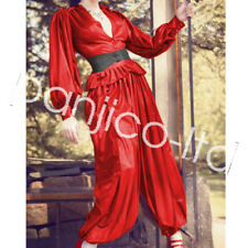 Latex Rubber Red and Black Top Coat and Trousers Pants Suit Set  Size:XXS~XXL
