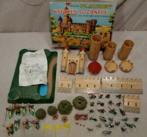 1960's Marx miniature playset boxed castle fort gold silver knights horses trees