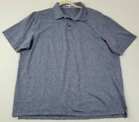 Peter Millar Men's Short Sleeve Polo Shirt 2XL Heather Blue Linen Cotton Casual