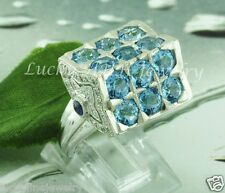 6.58 ct 14k White Gold  Ladies Blue Topaz  Diamond Sapphire Ring Cocktail Ring