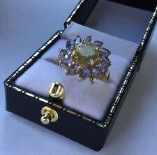 Hallmarked 9ct 9k Gold Gems TV GTV Tanzanite Citrine Gemstone Daisy Cluster Ring