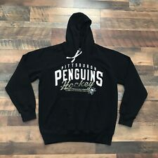 Pittsburgh Penguins Hockey Hoodie Sweatshirt Black Long Sleeve Men's Size Large